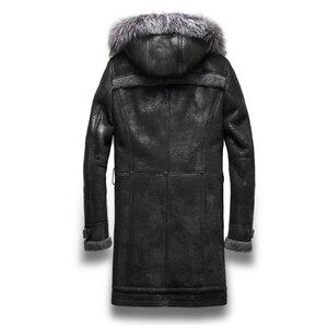 Image 3 - Luxury Real Sheepskin Fur Men Coat Genuine Silver Fox Fur Hood Sheep Shearling Male Long Outwear Black Men Fur Overcoat 4XL