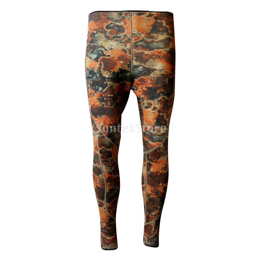 Camouflage Super Stretch Neoprene Scuba Diving Wetsuit Long Pants Surfing Snorkeling Spearfishing Kayak Sailing Trousers M