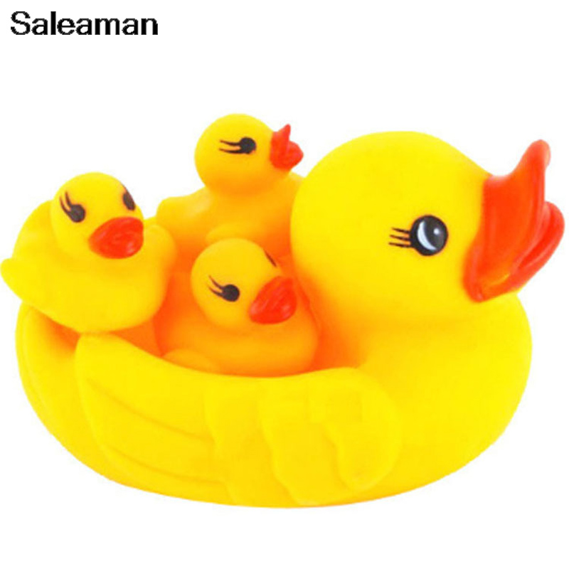 4pcs/set Baby Toys Water Floating Children Bath Toys Yellow Rubber Duck Ducky Baby Bath Toy for Kids Squeeze Sound Squeaky Pool