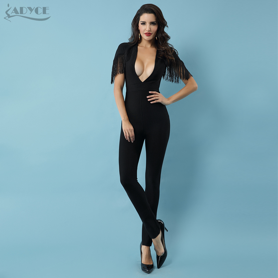 Adyce 2019 Elegant Women Long   Jumpsuits   Sexy Black Tassel Celebrity Party Rompers Sexy Backless Club Fringe   Jumpsuits   Bodysuit