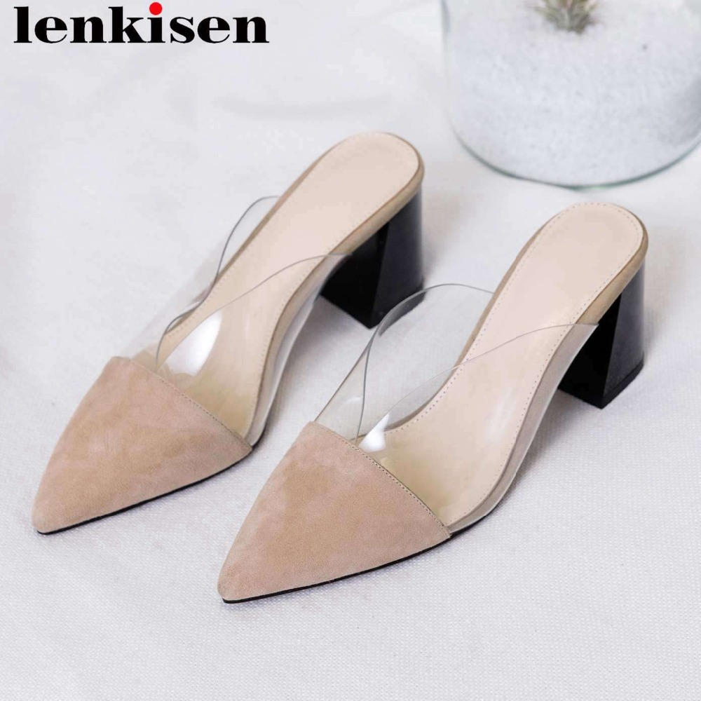Lenkisen full grain leather high heels slip on mules pointed toe transparent pvc material slingback party