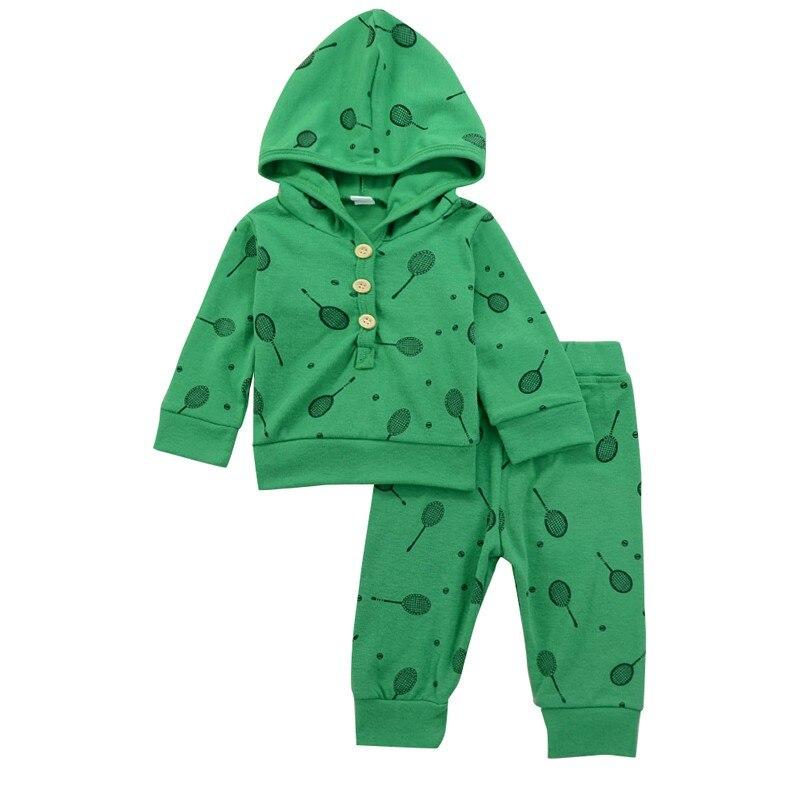 Baby Badminton Racket Printing Jersey Long-sleeve Hooded Suit 1 Hooded Jacket + 1 Pants