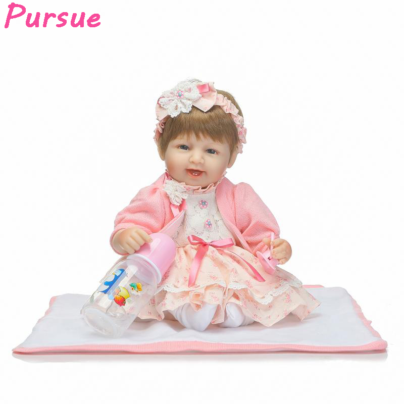 Pursue 17 inch Blue Eyes Doll Reborn Mini Silicone Baby Dolls Kids Toys for Girls Adult bebe reborn silicone realista bonecas