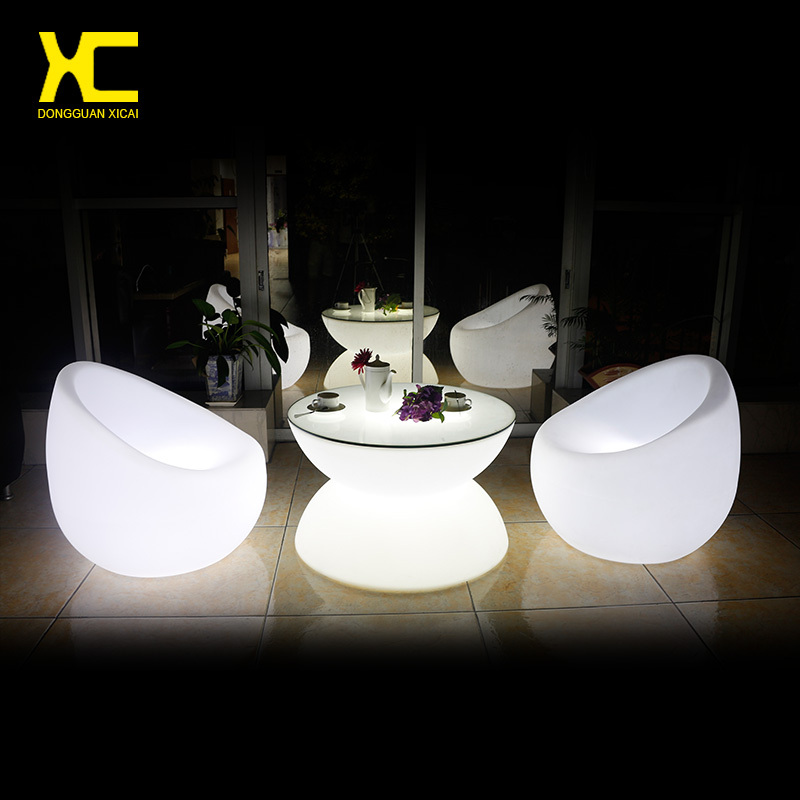 Chargeable Remote Control LED Coffee Table Illuminate Round Plastic Outdoor Tables Living Room Garden Furniture Set led bar table plastic luminous furniture high cocktail drinking table for living room dining room garden club party desk