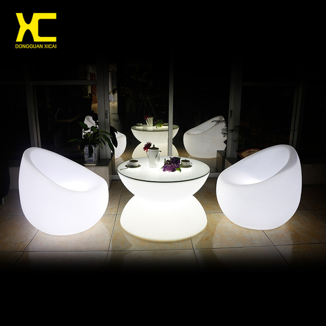 Chargeable Remote Control Led Coffee Table Illuminate Round Plastic Outdoor Tables Living Room
