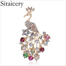Sitaicery Elegant Peacock Crystal Rhinestone Brooch Pin Fashion Brooches Flower Crown Gift For Wedding Lady