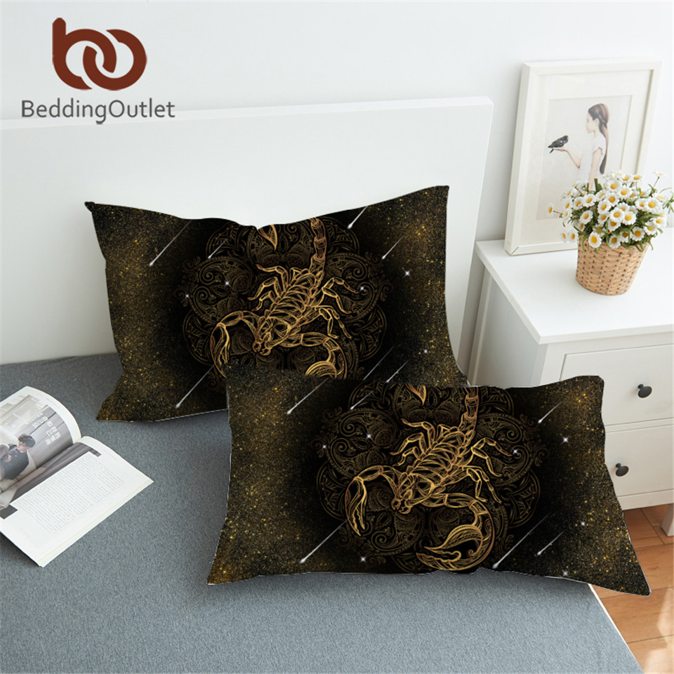 BeddingOutlet Gold Scorpion Pillowcase Meteor Scorpio Pillow Case Bohemian Constellation Bedding Boho Black Pillow Cover