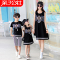 2016 Matching Mother Daughter Black Dresses Family Clothing Father Son Plus Size XXXL Cotton T-shirt And Shorts Set Famlily Look