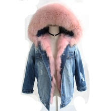 2018 new fashion denim parka thick winter warm coats with real fox fur lining and natural raccoon fur hoody trim jackets outwear children winter big real raccoon fur hooded thick warm parkas jackets boy girls fashion 2018 casual real liner coats bing bunny