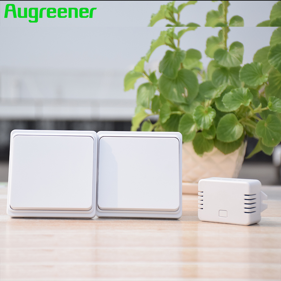 Augreener New Self Powered 2 Buttons + 1 Receiver Wireless Switch No Battery No wire 70m Long Working Range Free Shipping