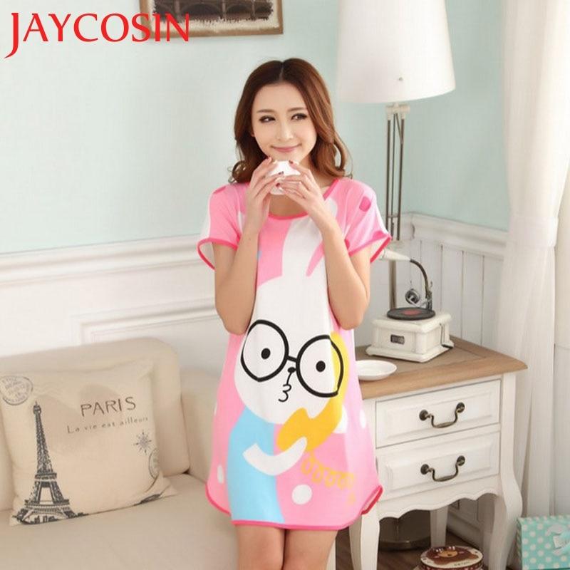 2017 New Fashion Cartoon Women Girl Rabbit Sleepwear Short Sleeve Dress L525 ...