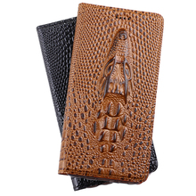 Cover For Apple iPhone 7 / 7 Plus 7plus High Quality Top Genuine Leather Flip Card Case 3D Crocodile Grain Phone Bag + Free Gift