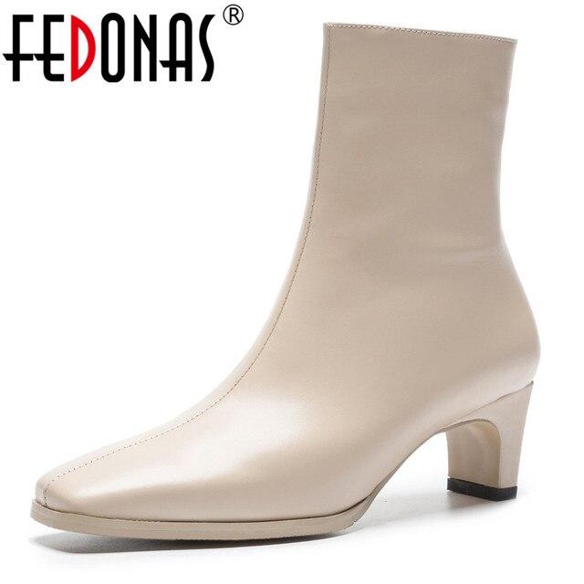 Fedonas Top Kwaliteit Vrouwen Basic Laarzen Side Rits Warm Hoge Hakken Herfst Winter Dames Schoenen Vrouw Sexy Vierkante Teen Kantoor pompen