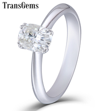 TransGems Solid 14K 585 White Gold 1 Carat CT 5X7mm F Color Cuhsion Cut Moissanite Engagement Ring for Women Wedding Gift