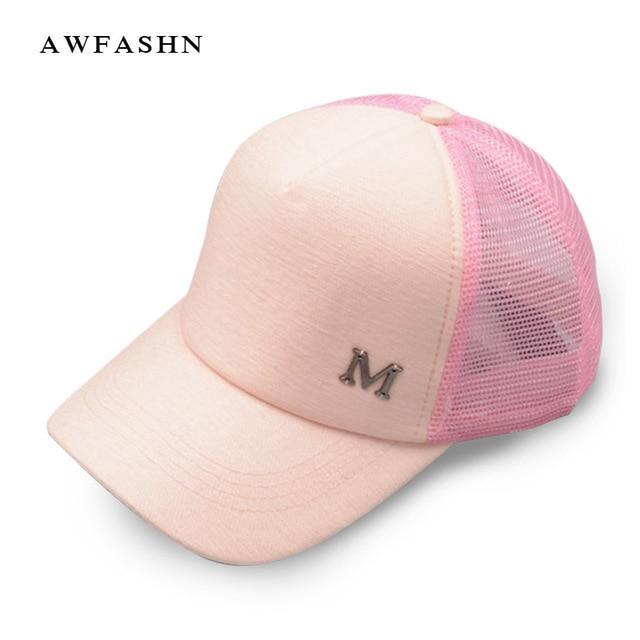 M surat bisbol topi musim panas perempuan topi kasual topi pria wanita  bernapas jala hitam logam 45b386350e