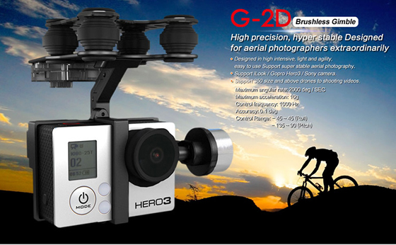 Original Walkera G-2D Brushless Gimbal for iLook/ilook+/GoPro Hero 3 Camera on Walkera QR X350 Pro Free Track Shipping