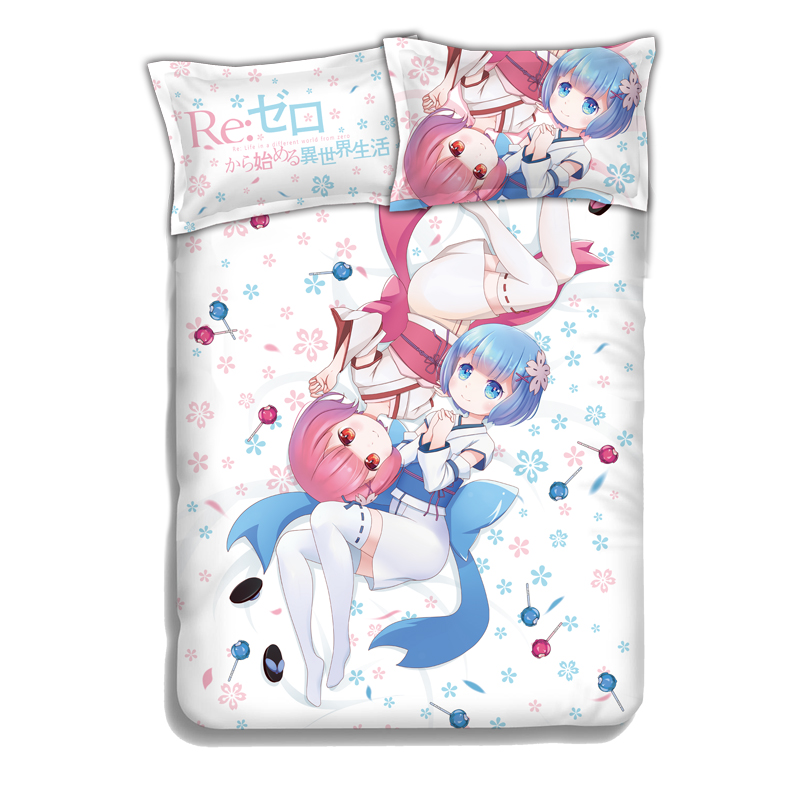 Anime Re Zero Twins Sister Ram Rem Bed Sheet or Duvet Cover with Two Pillow cases