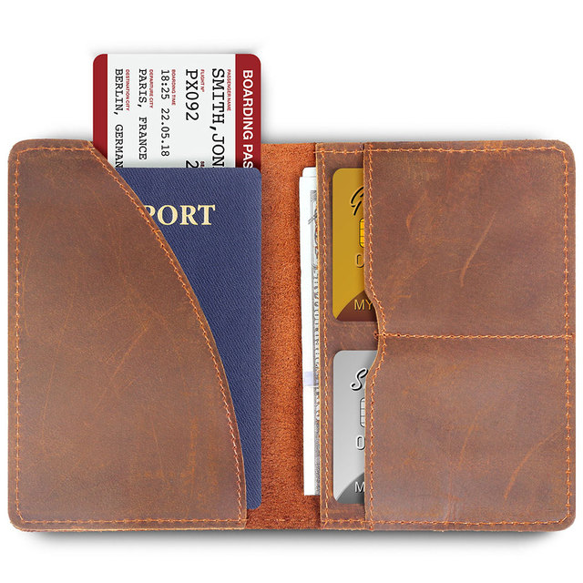 8ba8079bfbb7 US $10.7 49% OFF|Genuine Leather Passport Cover Men Wallet ID Credit Card  Case Vintage Male Passport Holder for Men Slim Document Crazy Horse-in Card  ...