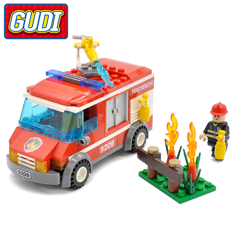 GUDI City Fire Rescue Truck Blocks 156pcs Bricks Building Blocks Sets Assembled  Educational Toys For Children Birthday Gift lepin 02012 city deepwater exploration vessel 60095 building blocks policeman toys children compatible with lego gift kid sets