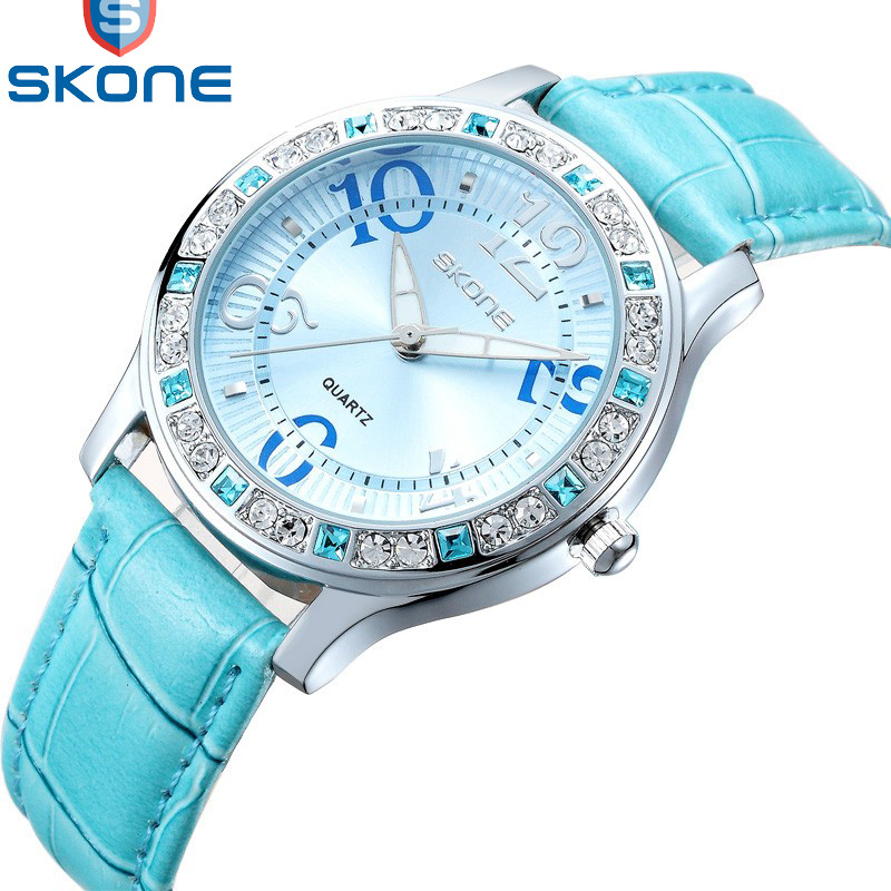 Watch Women SKONE Brand Luxury Fashion Casual Quartz Watches Leather Sport Ladies Relojes Mujer Women Wristwatch Girl Dress 9243 2017 luxury brand watch fashion rose gold girl watches women fashion casual quartz ladies wristwatch reloj mujer clock relojes