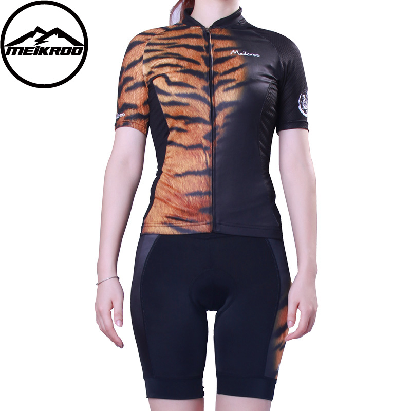 MEIKROO Pro Tiger Clothes Cycling Jersey Women Short Sleeve Set Breathable Maillot Ropa Ciclismo MTB Mountain Bike Clothing F4