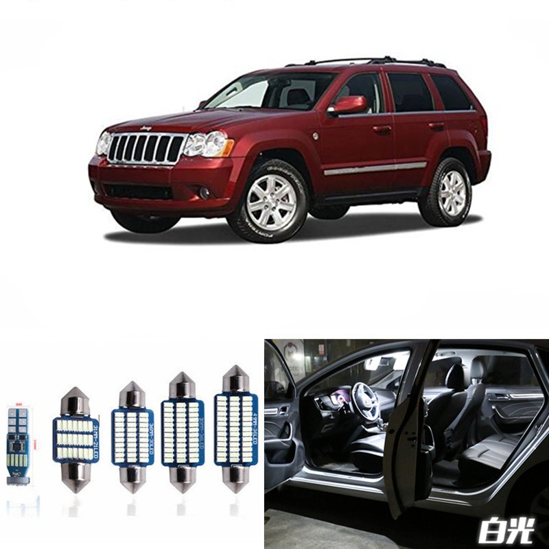 12pcs Canbus Car LED Light Bulbs Interior Package Kit For 2005-2010 Jeep Grand Cherokee Map Dome Trunk License Plate Lamp White 13pcs canbus car led light bulbs interior package kit for 2006 2010 jeep commander map dome trunk license plate lamp white
