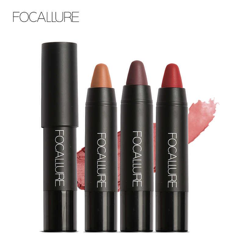 Lápiz labial mate FOCALLURE 19 colores impermeable de larga duración fácil de llevar lápiz labial profesional desnudo