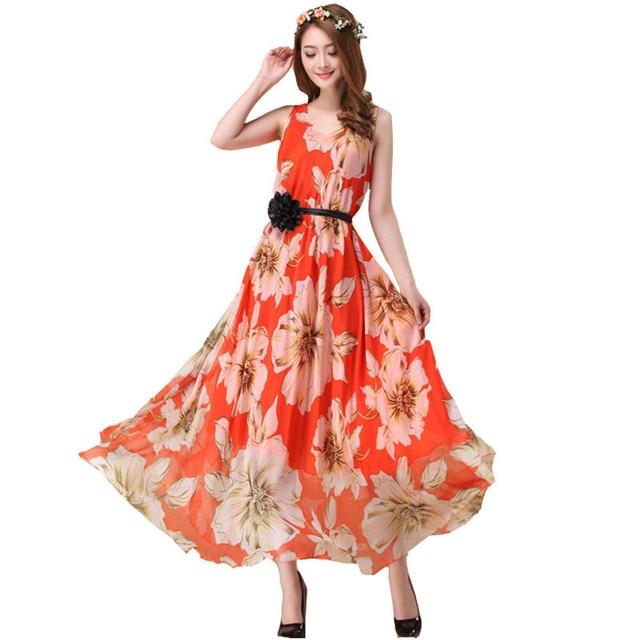 52c15089d0abdc 2019 sommer Stil Chiffon Maxi Kleid Elegante Damen Lange Kleider Sexy Print  Strand Bohemian Kleid Junge