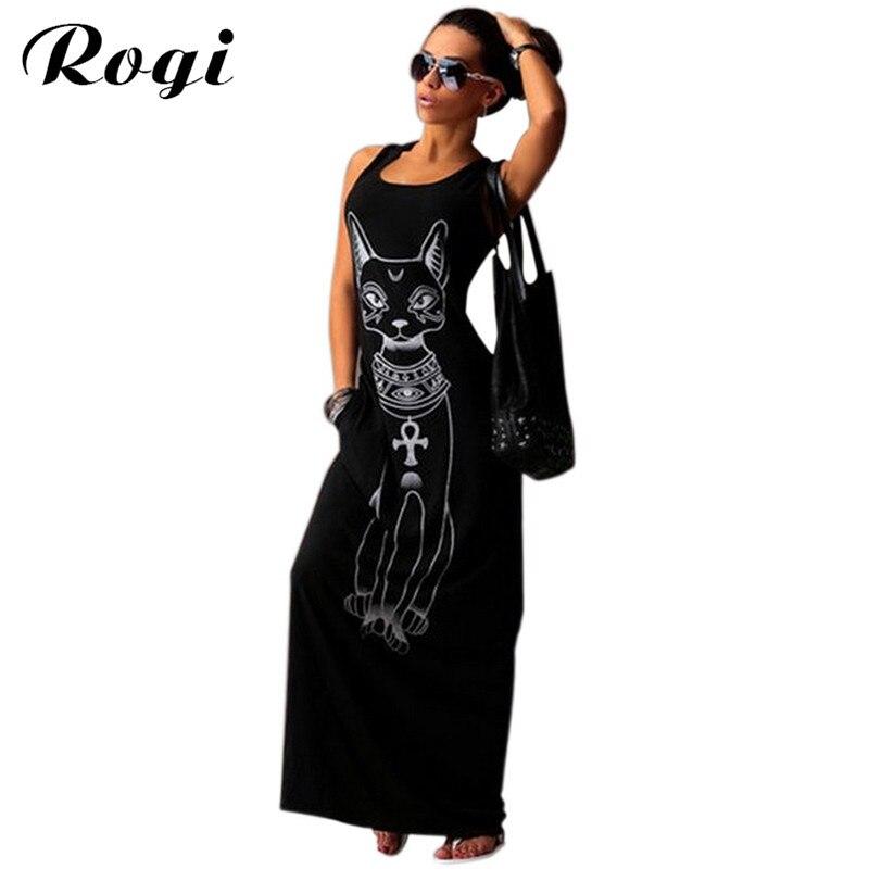 1c6be80e565 Rogi летнее женское пляжное платье Винтаж кошка принт облегающее платье для  вечеринок сексуальное без рукавов длинное