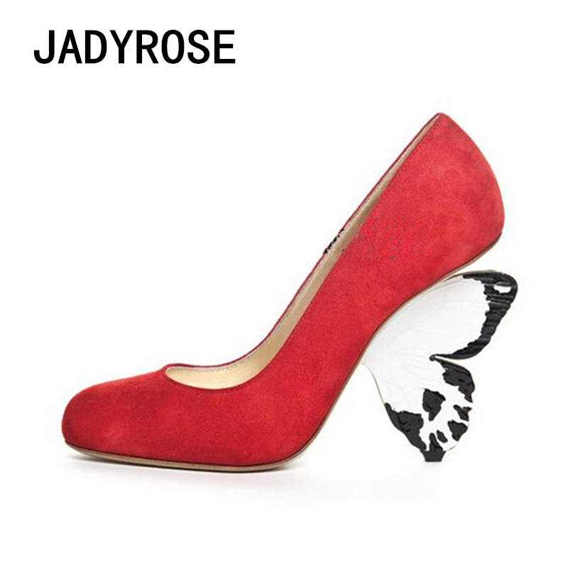 Women Butterfly Heels Shoes Woman Round Toe High Heels Red