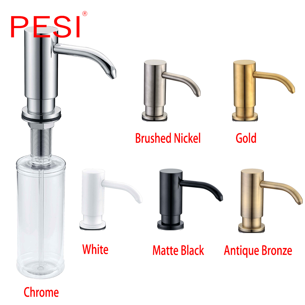 Brass And ABS Kitchen Sink Countertop Soap Dispenser Built In Hand Soap Dispenser Brass Pump Large Capacity 13 OZ Bottle.