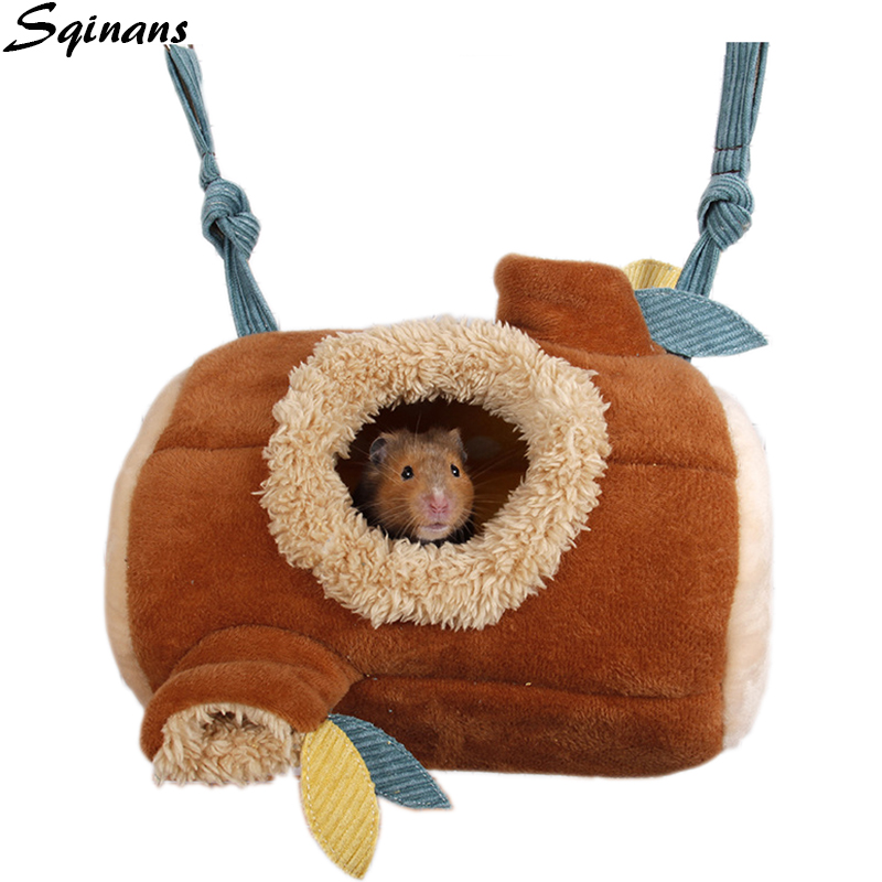 Sqinans Small Pet Bed House Stump Shape Winter Warm Suede <font><b>Plush</b></font> Hammock Tunnel Toys For Hamster Squirrel <font><b>Guinea</b></font> <font><b>Pig</b></font> Cave Nest image