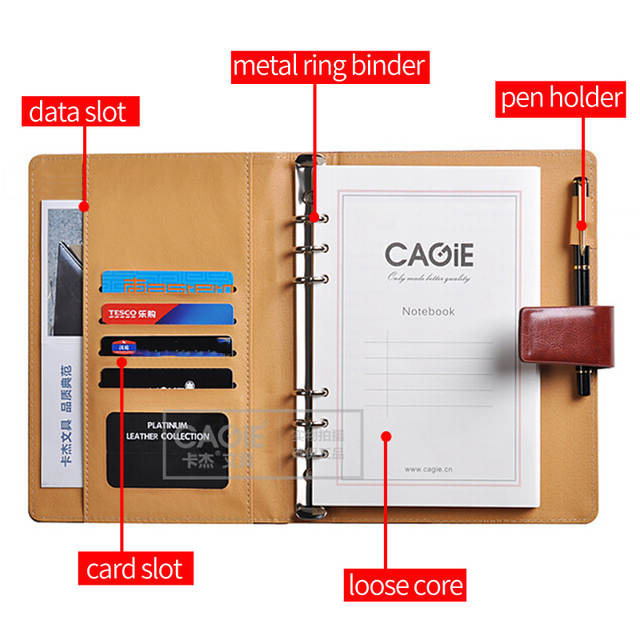 CAGIE a5 Binder Diary Notebook Vintage Leather Journal for School Chancery  Daily Schedule Organizer Filofax a6 Pocket Notebook