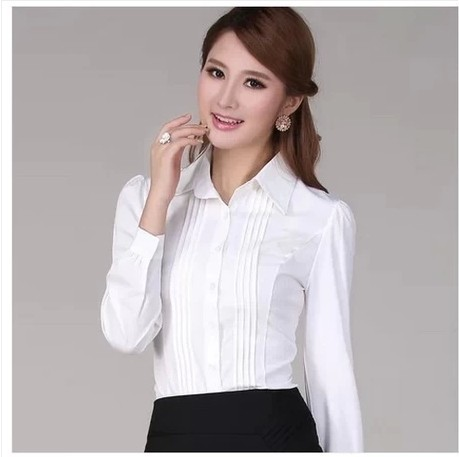 5XL 2017 Spring new Women blouses shirt Korean fashion long-sleeved chiffon shirt plus size white women tops office women shirts