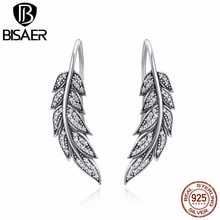 Vintage 100% 925 Sterling Silver Brincos Korea Sayap Malaikat Bulu Drop Anting-Anting Wanita Fashion Sterling Silver Pernikahan Anting-Anting(China)