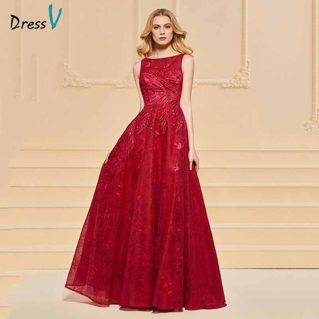 Dressv elegant scoop neck beading lace evening dress button floor length  wedding party formal gown dress evening dresses d30c1cff17ec