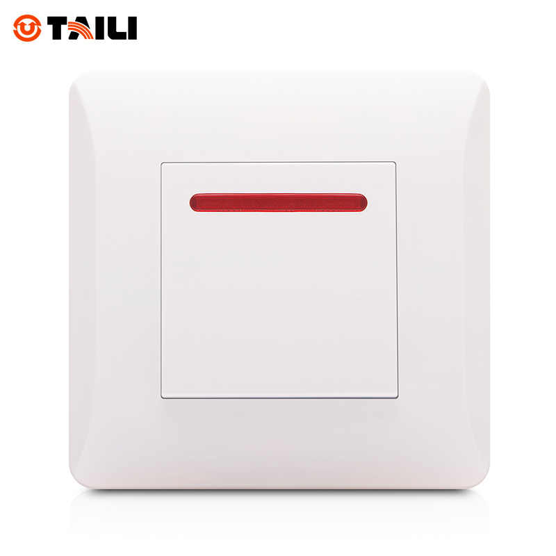 TAILI Brand one Gang one Way EU Standard Luxury White Push Button Wall Switch 220~250V 10A Light Switch #TL0606 switch borad retro black light switch one control two way 10a 110v 250v