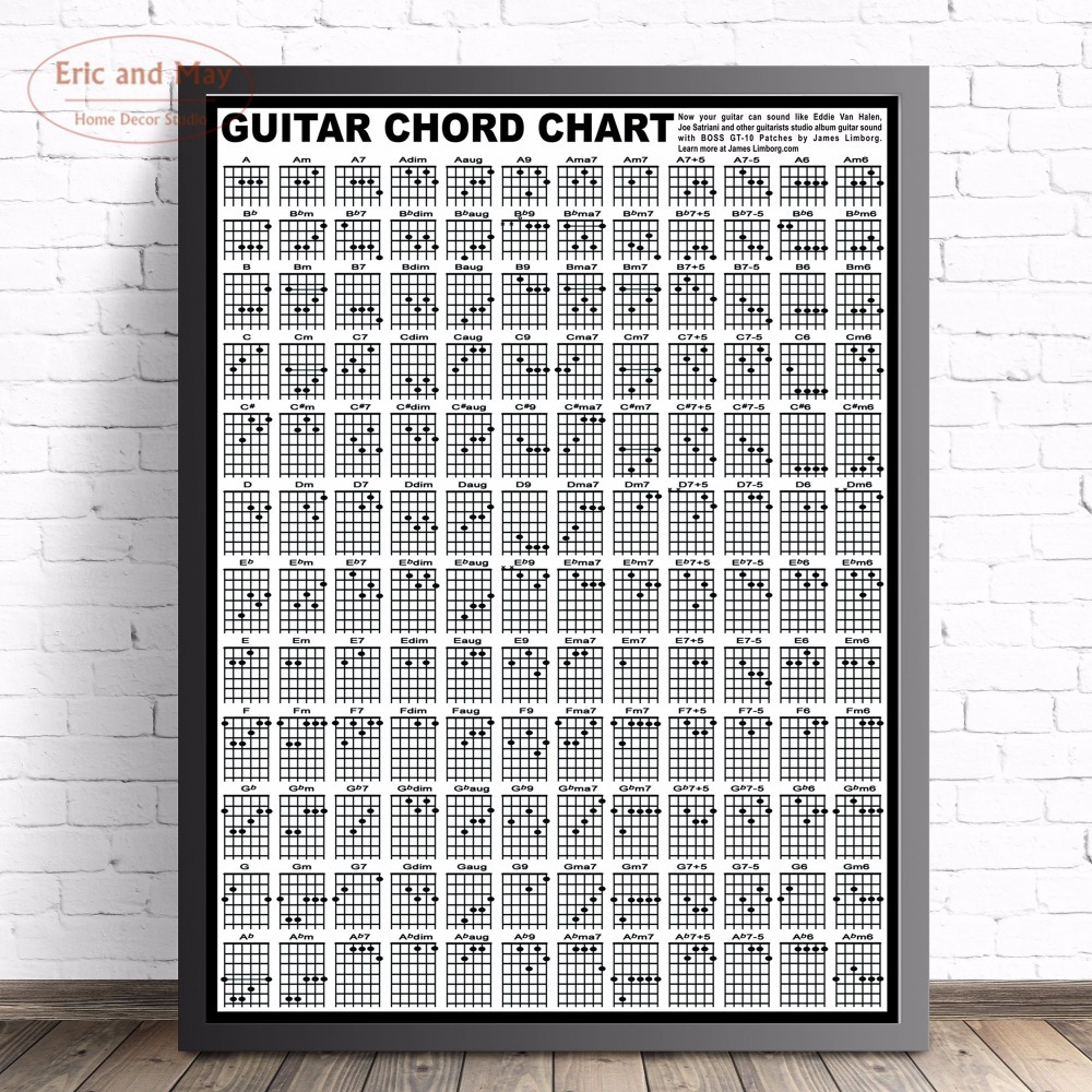 Guitar Chord Chart Large Size Wall Art Canvas Painting Poster For Home Decor Posters And Prints Unframed Decorative Pictures