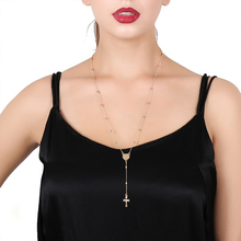 hot deal buy trendy catholic rosary beads jesus cross charms long gold chain necklaces pendants jewelry fashion necklaces for women