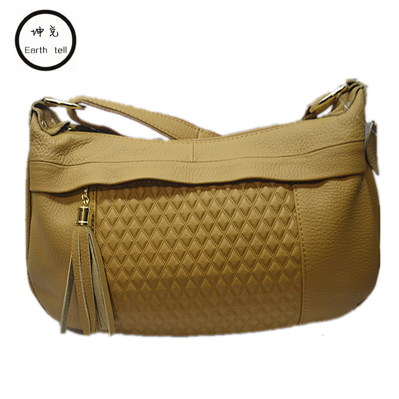 Earth tell Brand Soft Retro Women Bags Genuine Leather Tassel Shoulder Messenger Bag Solid More Color Female Ling grid Handbag dooya dt52s electric curtain motor 220v open closing window curtain track motor smart home motorized 45w 75w curtain motor