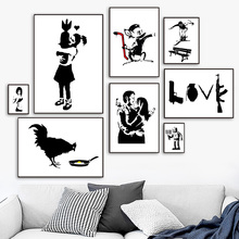 Banksy Graffiti Funny Minimalist Abstract Nordic Posters And Prints Wall Art Canvas Painting Pictures For Living Room Decor