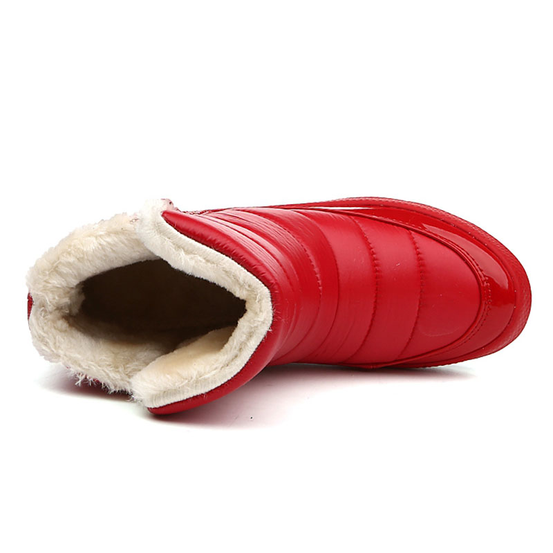 Coton Hiver Neige 2 Cheville Imperméables Chaussures Bottes rouge Chaud 2018 Zipper Femmes Nouvelle De D'hiver YwvgvB