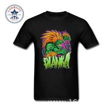 2017 Hot Selling Funny Blanka In Game Street Fighter Green  Funny Cotton T Shirt for men