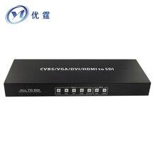 VGA DVI HDMI CVBS to SDI switcher 4×1 ALL TO SDI  Scaler Converter 3G 1080P AV to sdi 720P/1080P60HZ