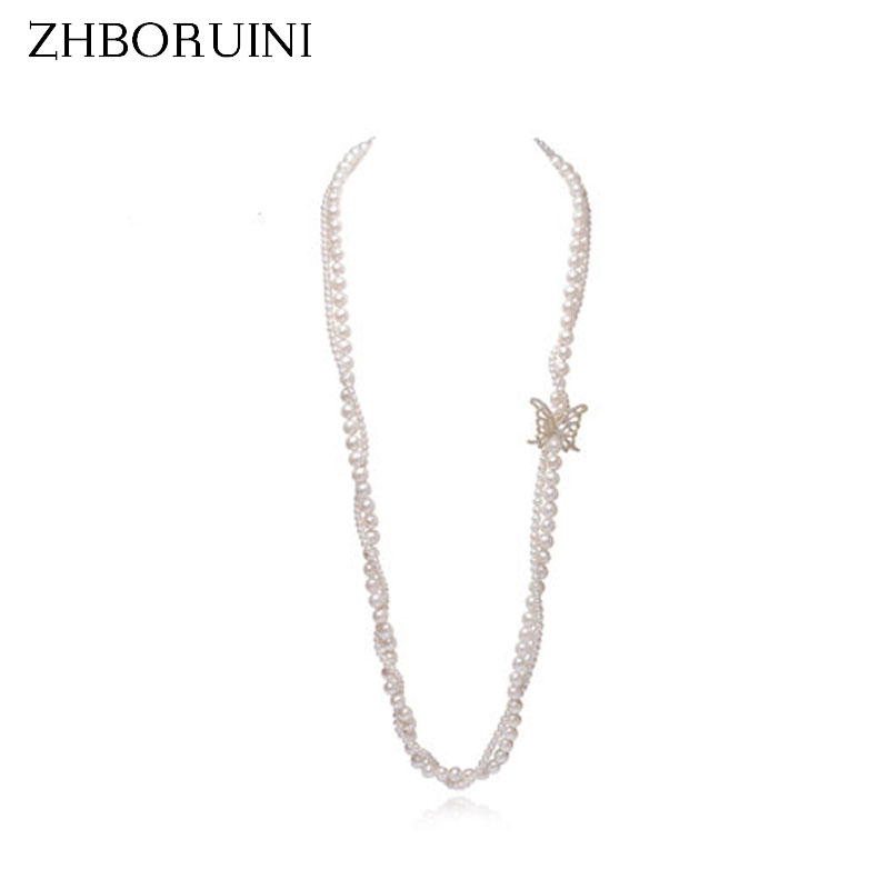 ZHBORUINI Fashion Long Pearl Necklace Natural Freshwater Pearl Butterfly Layer Pearl Necklace Sweater chain Jewelry For Women pearl butterfly clavicle chain