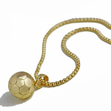 Football Soccer Pendants Necklaces Ball Sports Jewelry Gold Color Stainless Steel Snake Chain Men Bijoux 23in 10pcs