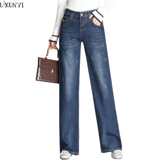92357dd1 LXUNYI Vintage High Waist jeans Stretch Loose Plus Size Wide Leg Jeans Women  Spring Autumn 2019 Korean Denim Trousers Pants 8XL