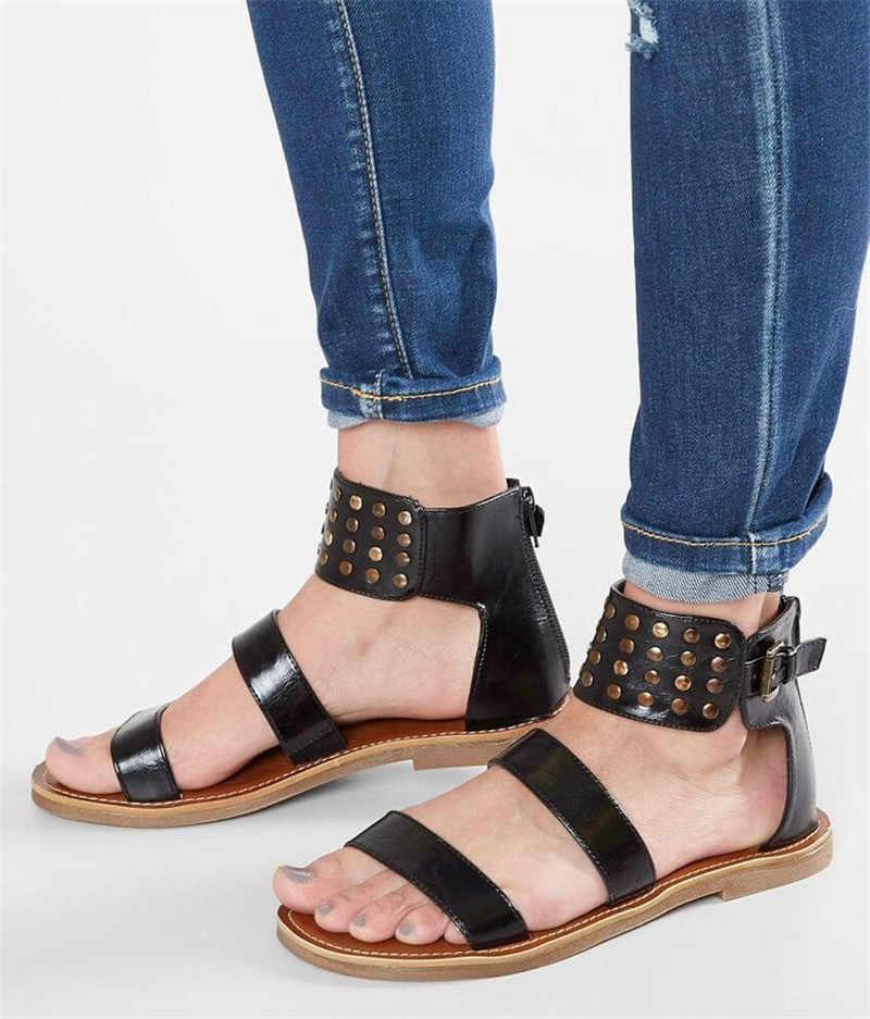 Asumer Big Size 35-42 Nieuwe Zomer Sandalen Gesp Dames Schoenen Platte Met Zip Klinknagel Comfortabele Gladiator Sandalen Vrouwen 2020