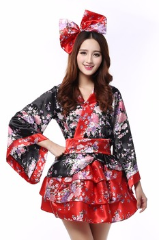 Japanese kimono traditional girls Geisha girl cosplay sexy bathhouse womens females suits cosplay bowtie flowers cos Costume girl