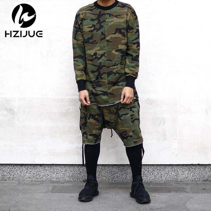 HZIJUE Long Sleeve Quality Fashion Men Top Tee T-shirt T Shirt Kanye Camo Camouflage Hip Hop Swag Skate Brand-clothing Tyga